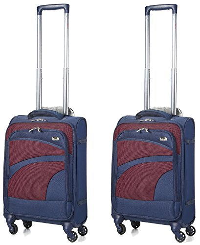 Aerolite Ultra Lightweight Carry On Hand Cabin Luggage Suitcase Travel Trolley 4 Wheel Spinner (Blue/Plum, Set of 2)