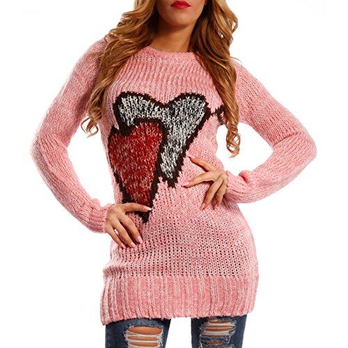 Damen Pullover Strickpullover Doppelherz mit Pfeil durch die Herzen Meliert Rosa