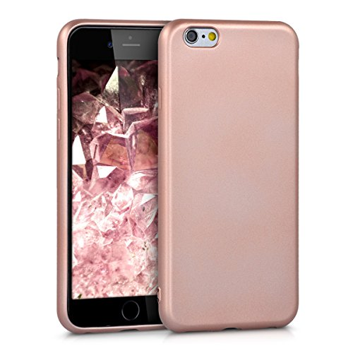 Apple Gummi Iphone (kwmobile Hülle für Apple iPhone 6 / 6S - TPU Silikon Backcover Case Handy Schutzhülle - Cover Metallic Rosegold)