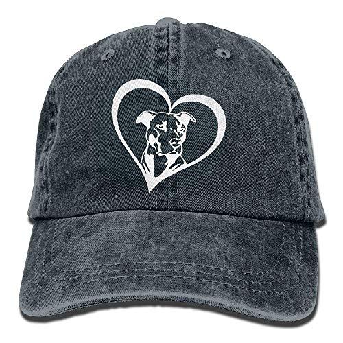 Wdskbg Männer & Frauen einstellbar Denim Stoff Baseball Caps Pit Bull Heart Snapback Cap Multicolor66 - Bull Denim Stoff