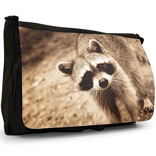 Waschbär Große Messenger- / Laptop- / Schultasche Schultertasche aus schwarzem Canvas