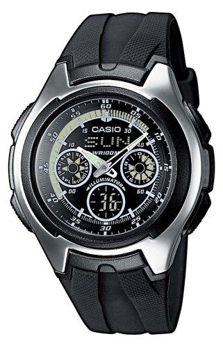 CASIO Collection AQ-163W-1B1VEF - Reloj unisex de cuarzo, correa de resina color negro (con cronómetro, alarma, luz)