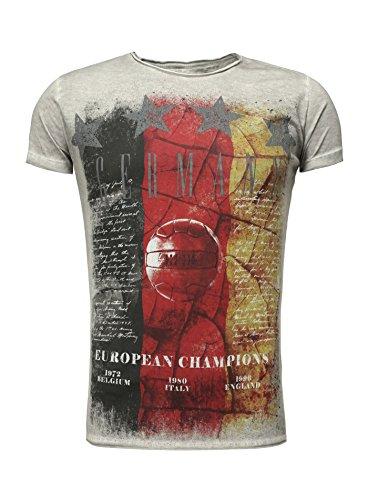 Key Largo Herren T-Shirt GERMANY Rundhalsausschnitt Flaggenmotiv Em 2016 Europameisterschaft Vintage Look verwaschen Slim Fit Schnitt Printhsirt Sommershirt grau L