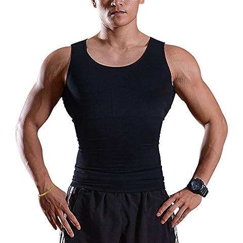 Débardeur gainant - IMAGE T-Shirt amincissant - Sous-Vêtements masculins pour Hommes - Gilet pour perdre du Poids Ventre & Reins avec Couture fort de haute Qualité (L ( 101-111cm ))