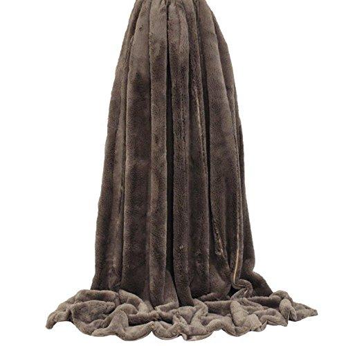 Ultra doux Couvre-lit en fausse fourrure en Taupe 100% polyester 130 cm x 180 cm