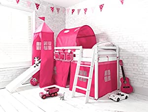 Cabin Bed Mid Sleeper in WHITE Pink Princess with Tower ,Tunnel & Tent 6970WG-PINK