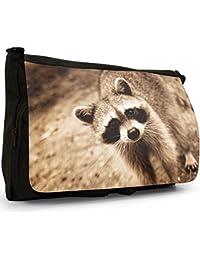 Preisvergleich für Waschbär Große Messenger- / Laptop- / Schultasche Schultertasche aus schwarzem Canvas