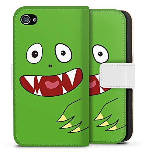 Apple iPhone X Silikon Hülle Case Schutzhülle Monster Kids Kinder Sideflip Tasche weiß