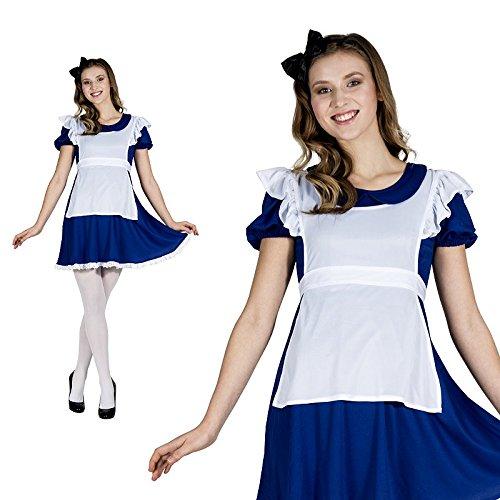 Alice Wunderland Kurz Retro Schürze Hausmädchen Jahrhundertwende Kostüm Damen