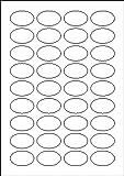 180 Etiketten selbstklebend oval 40,6 x 25,4 mm weiß permanent klebend auf Bogen A4 (5 Bögen x 36 Etik.)