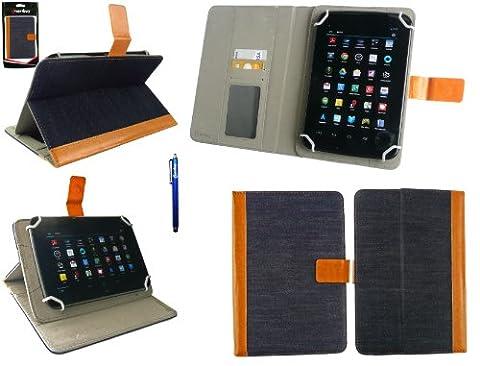 Emartbuy Winnovo M798 4G Tablette PC 7.85 Pouce Universale Série Denim with Tan Trim Angle Multi Folio Exécutif Etui Coque Portefeuille Wallet Avec des Fentes de Cartes + Bleu Stylet