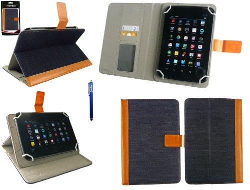 Emartbuy® AlpenTab 7 Zoll Tablet PC Universalbereich Denim with Tan Trim Multi Winkel Folio Executive Case Cover Wallet Hülle Schutzhülle mit Kartensteckplätze + Blau Eingabestift