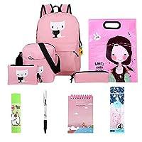 10pcs/Set School Backpacks Cute Cats Print Backpacks Girls School Shoulder Bags (Pink)
