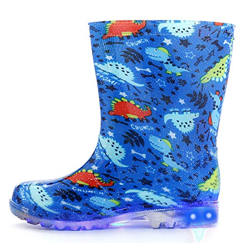 KushyShoo Flashing Wellies for Girls and Boys, Light Up Wellington Boots Size 5-13 1-2