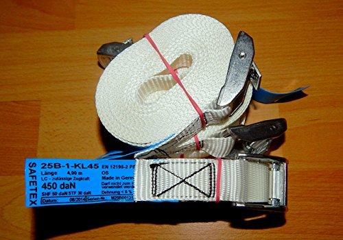 10 PROFI Zurrgurte mit Klemmschloss Spanngurte für Transport und Umzug, Material:Polyester, Breite: 25 mm, Länge: 4 m , 450 da/N, DIN-EN 12195-2, Made in Germany