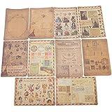 HITSAN 10 Sheet Vintage Paper Stickers DIY Scrapbooking Photo Album Diary Craft Decor One Piece