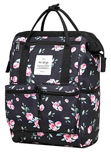 HotStyle DISA Fashion Blumen Damen Laptop Rucksack 12 zoll (35x23x15cm) - Rose Schwarz (Vintage Army Air Schwarz)