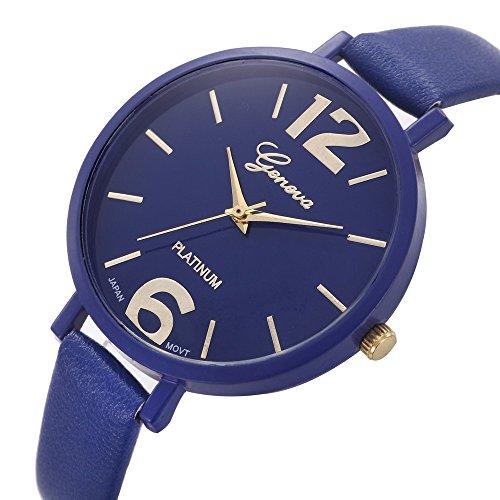 SNS Geneva Women Faux Leather Analog Quartz Movement Wrist Watch (Blue)
