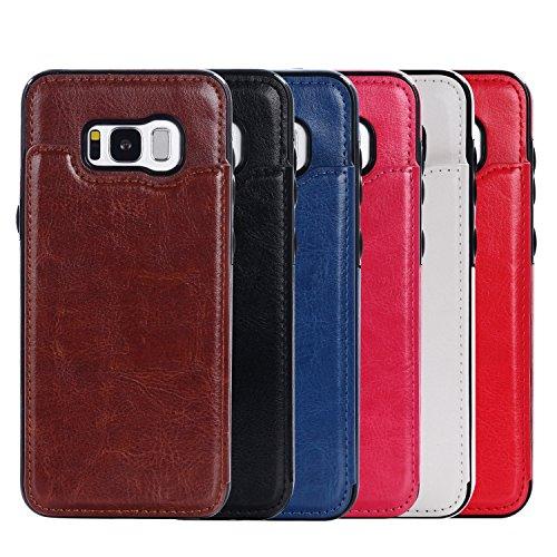 Verrückte Pferd Textur Leder zurück Abdeckung Geldbörse Tasche Cover Case mit Kickstand & Card Slots für Samsung Galaxy S8 ( Color : Blue ) Rose