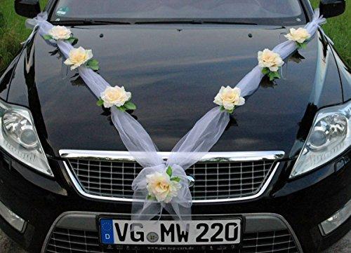 Organza M Auto Schmuck Braut Paar Rose Deko Dekoration Hochzeit Car Auto Wedding Deko (Lemon/Weiß)
