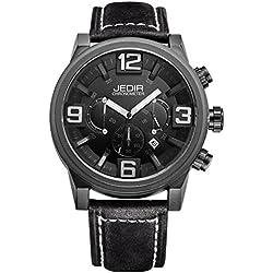 YPS Men Quartz 3D Dial Surface Multifunction Dial Calendar Display Leather Strap Wrist Watch WTH5308