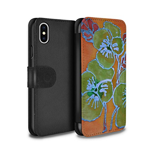 Stuff4 Coque/Etui/Housse Cuir PU Case/Cover pour Apple iPhone X/10 / Rose Vif Design / Effet de soie Floral Collection Vert/Orange