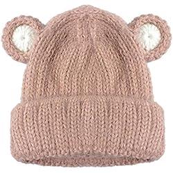 Gorros Bebé,Xinan Sombrero de Casco Suave Invierno Niño Tejido (Rosa)
