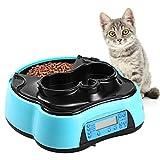 Homdox Futterautomat Katze Automatischer Futterspender für Hund und Katze, Futter- und Wasserspender mit Timer LCD Bildschirm und Ton-Aufnahmefunktion, nassfutter trockenfutter futternapf, 1.6 Liter