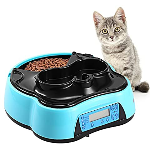 Homdox Automatic Pet Feeder Food Water Dispenser 4 Meals Programmable Cat feeder Water Trays for Dog