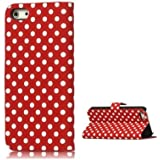 Etui Portefeuille Rouge À Pois Blancs Housse Iphone 5