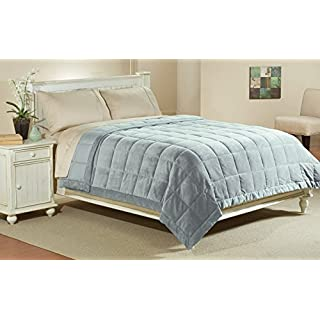 Luxlen Full / Queen Microfiber Blanket in Quarry, Reversible: Soft Plush to Satin Cool by Aeolus Down