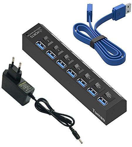 Hub USB 3.0 - 7 Puertos Adaptador de Corriente(5V/2A) y Cable USB(60CM) para Macbook Pro Surface Windows 10 Linux Negro - Tumao