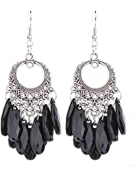Chooseberry Oxidized German Silver Afghani Earrings With Black Stone Hangings Hook Earrings For Women (Blue, Red...