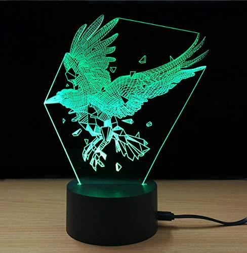 Glänzende bunte adler modell usb 3d led nachtlicht moderne kreative tragbare schöne langlebige lampe home diy -