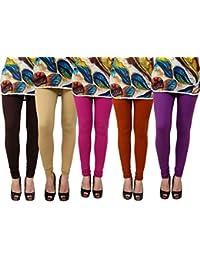 Anekaant Pack Of 5 Cotton Lycra Free Size Women's Legging -Brown, Beige, Purple, Brown, Magenta