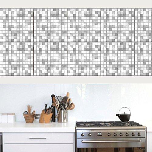 Winkey 10Pcs Mosaic Square Self Adhesive Tile PVC Stickers Decal Home Decor (F)