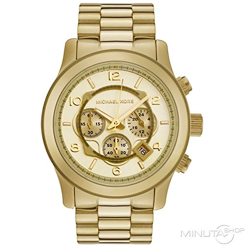 Mens Watch Michael Kors MK8077 Gold Tone Quartz Date Chronograph Link Bracelet M