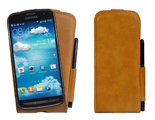 Akira Handmade Original PREMIUM Echtleder Flip Case mit Stifthalterung für Samsung Galaxy S4 Active GT-i9295 Braun + Gratis Stift (Samsung Handy Für Tasche Active 4)