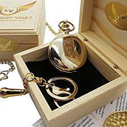 Signed Elvis Presley Gold Pocket Watch Full Hunter AND Microphone Keyring 24 Carat Gold plated in Luxury Wooden Box Presentation Case