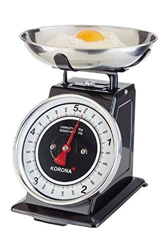 Korona 76150 Mechanische Küchenwaage Tom - Analog Wiegen im Retro Look - Inklusive Edelstahl Schüssel