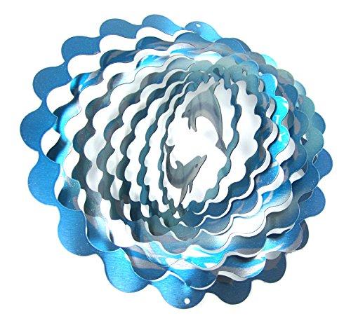 shipityourway 3D Wind Spinner Dolphin Blau Metall silber Reflektierende Yard Art der Rasen Twister und Drehgelenk
