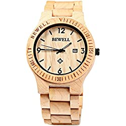 GBlife BEWELL ZS - W086B Mens Wooden Watch Analog Quartz Movement with Date Display Retro Style (Maple)