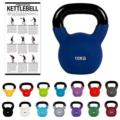 MSPORTS Kettlebell Neopren 2 - 30 kg inkl. Übungsposter (10 Kg - Dunkelblau) Kugelhantel