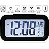 The Aura Nightlights Temperature Battery Operated Optically Controlled Liquid Crystal Alarm Clock (Black)