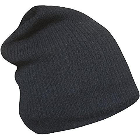 Adults Unisex Soft Thermal Knit Floppy Slouch Beanie Hat (Black)