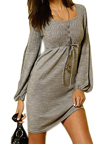 Damen Kleid Strickkleid Figurbetont Geschnittene Strickkleid mit Rundhalsausschnitt S/M 36/38 (774) Grau
