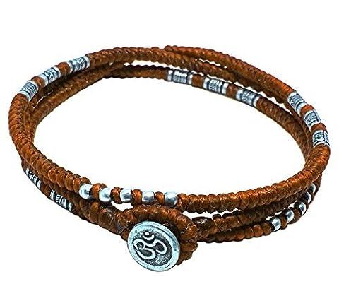 Lun NA asiatique fait main Bracelet Boutons Ohm Symbole hindou Argent 925plumes Perles Orange Corde de cire