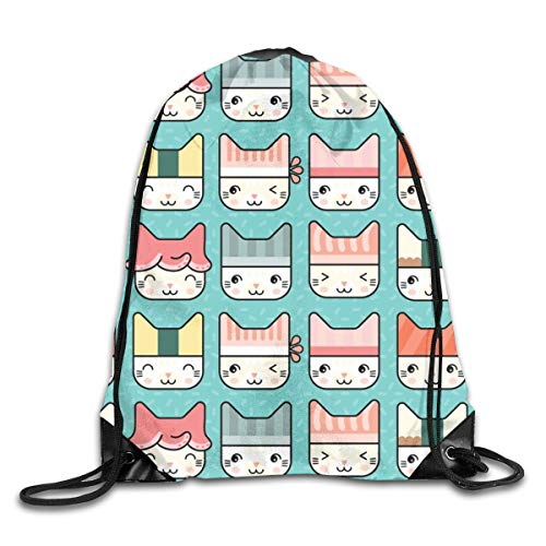 Bags Sushi Cat Hats In Blue Sport Athletic Gym Sackpack for Men Women ()