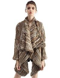 Bellerfur De conejo auténtica chaqueta abrigos de piel hecha punto invierno ropa exterior de la piel de Cardigan con mangas
