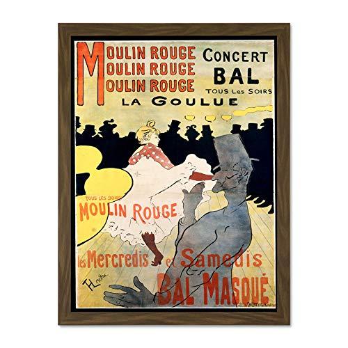 Doppelganger33 LTD AD Vintage Lautrec Moulin Rouge La Goulue Mask Ball Art Large Framed Art Print...